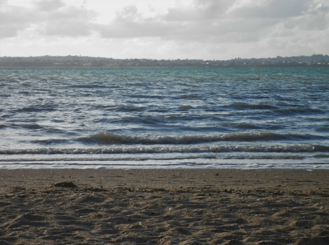 Evidence of a windy day in the unsettled water surface and white capped waves
