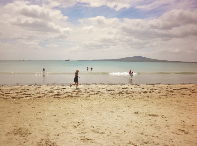 Looking across at Rangitoto Island from Takapuna beach