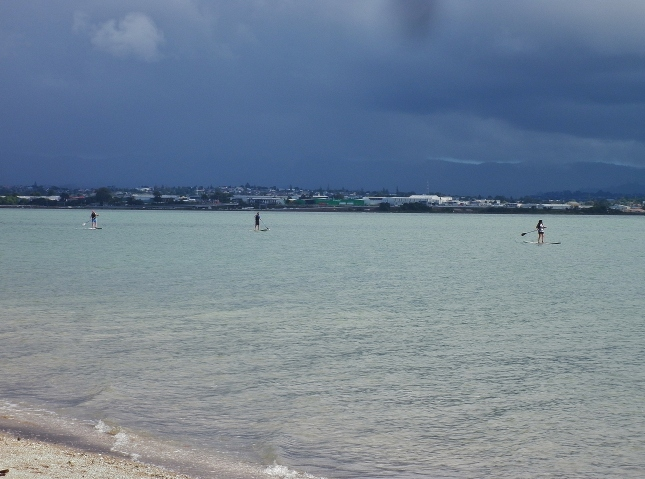 Sunny foreground with rain clouds on the horizon on a calm Saturday at Pt Chevalier beach