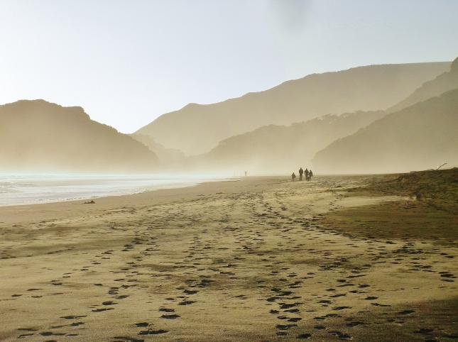 Walking at Te Henga, Bethells beach in winter