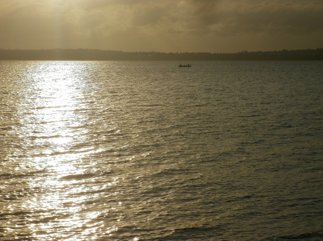 Solitary little boat floats near Pt Chevalier beach on the upper Waitemata Harbour April 16 2015